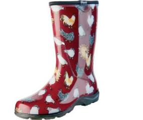 Sloggers 5016CBR07 Size 7 Red Chicken Print Women/'s Rain /& Garden Boot